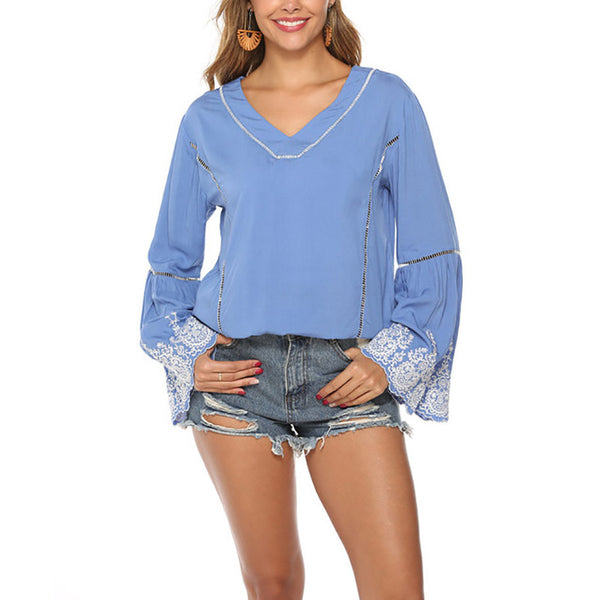 Ladies V Neck Patchwork Casual Blouses