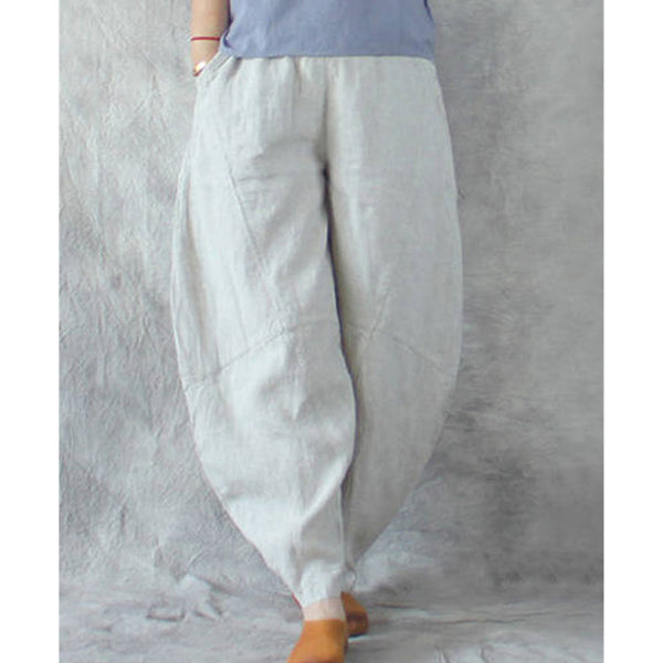 Casual Pockets Solid Color Loose Holiday Pants