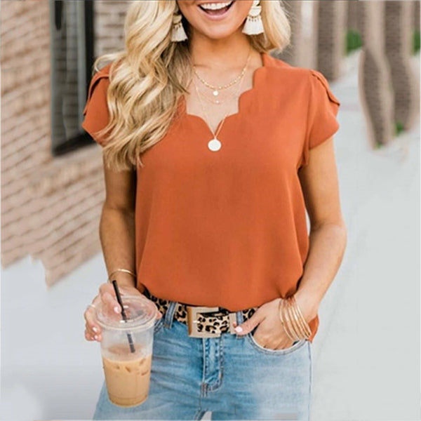 Casual V Neck Solid Color Women Blouse