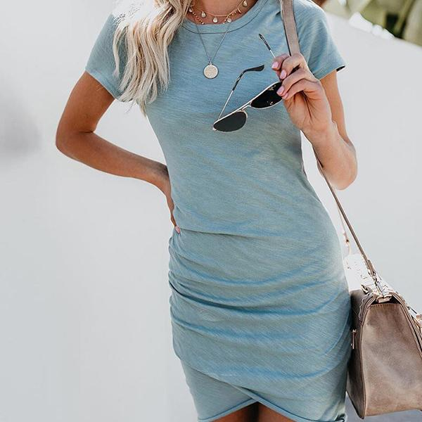 Women Sexy Bag Hips Irregular Short Sleeve Dress