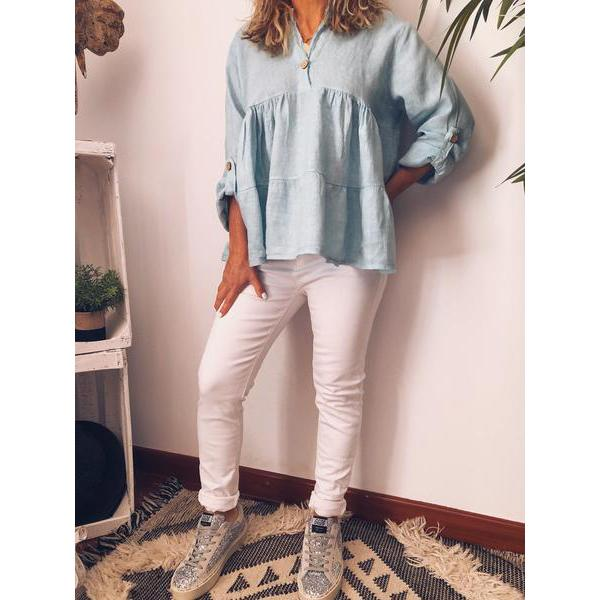 Casual Stand Collar Buttoned 3/4 Sleeve Solid Color Blouse