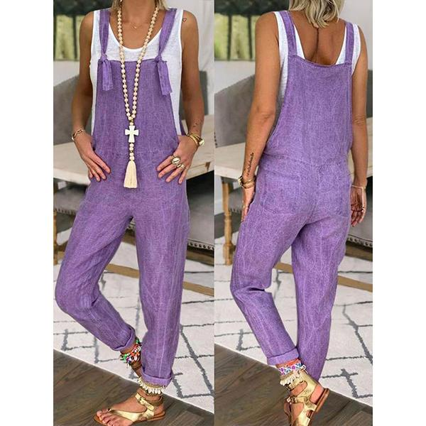 Summer Women Solid Color Jumpsuits