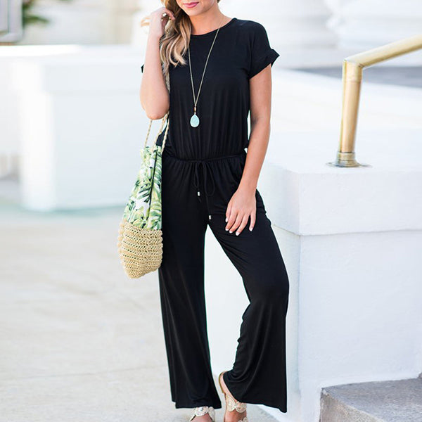 Solid Color Round Neck Loose Jumpsuits