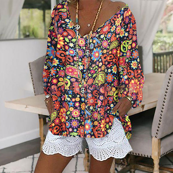 Floral Printed Women Loose V-neck Fall Blouses