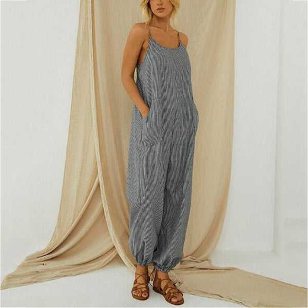 Loose Casual Stripe Women Jumpsuits