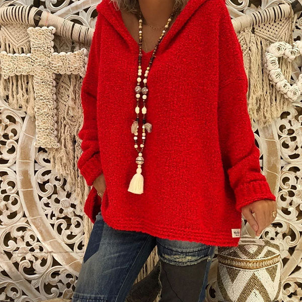 Women Plain Loose Hooded Sweaters