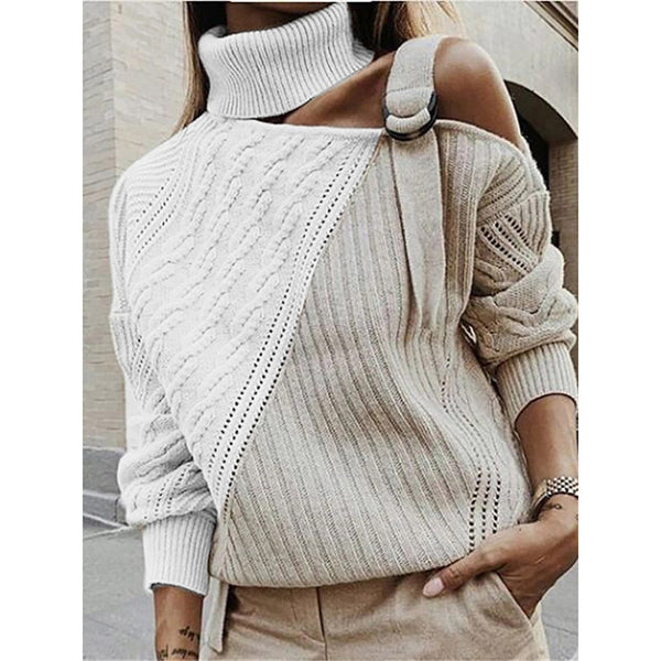 Women's Off-the-shoulder Colorblock Sweaters