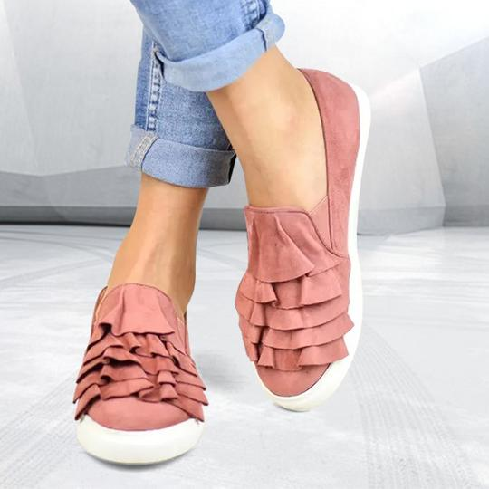 Fashion Ruffle Side Flat Shoes