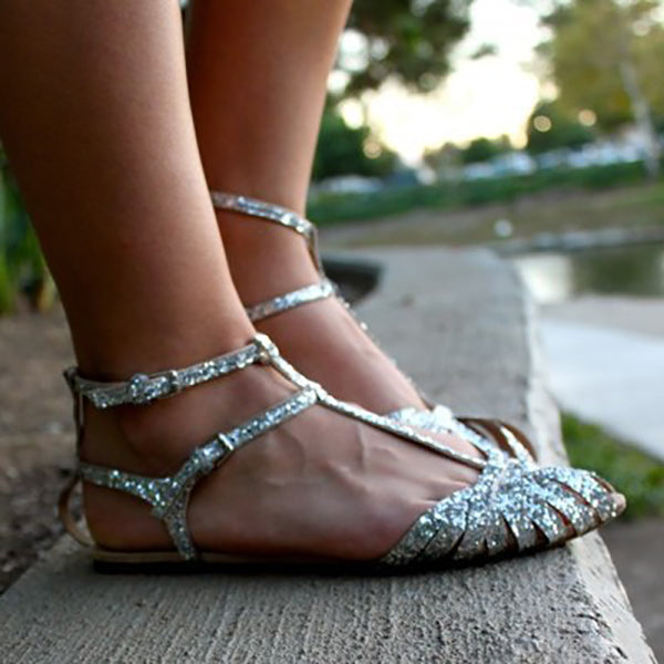 Hollowed-out Buckle Strap Elegant Sandals
