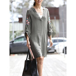 Women Daily 3/4 Sleeve Printed Dresses