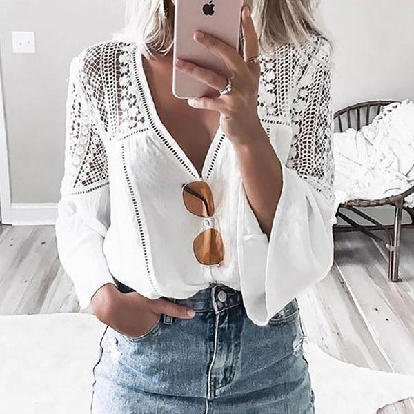 V Neck Lace Hollow Solid Color Blouse