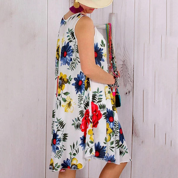 Vacation Sleeveless Printed Dress
