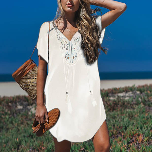 Plus Size Vacation Beach Solid Color Hollow Dress