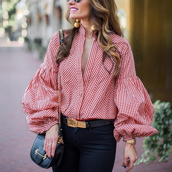 Flare Sleeve Striped Elegant Date Blouses