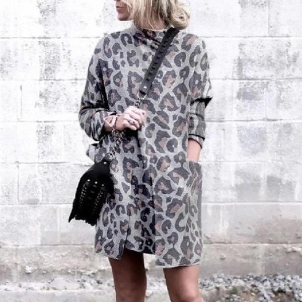 Women's Leopard Printed Turtleneck Dress