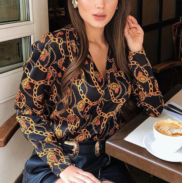 Long Sleeve Printed Loose Casual Blouses