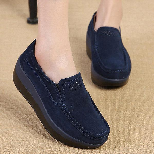 Rocker Sole Suede Slip On Casual Shoes