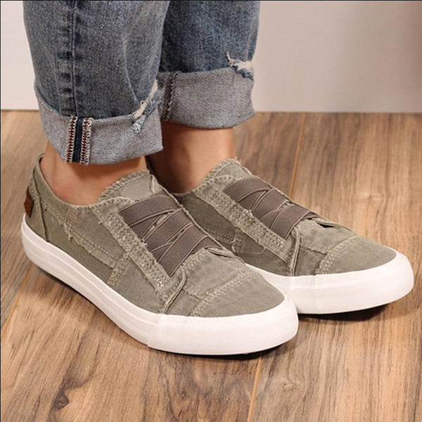 Elastic Band Flat Shoes Solid Color Sneaker