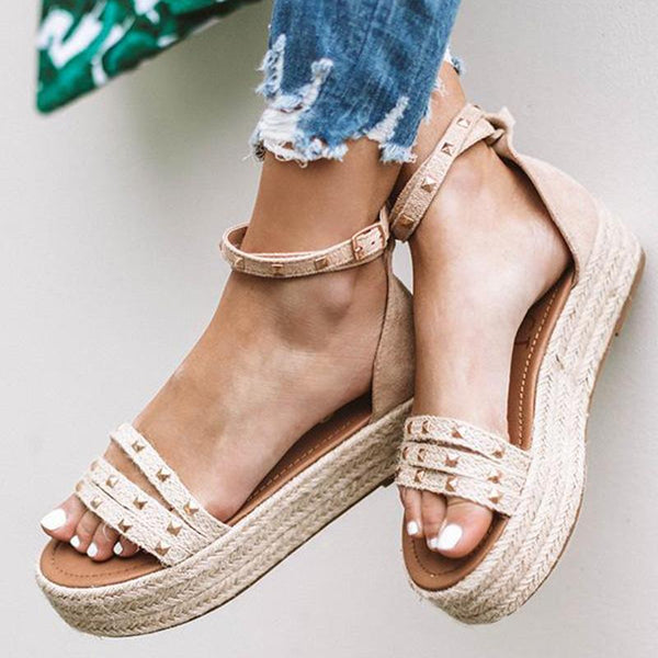 Casual Adjustable Buckle Espadrille Sandals