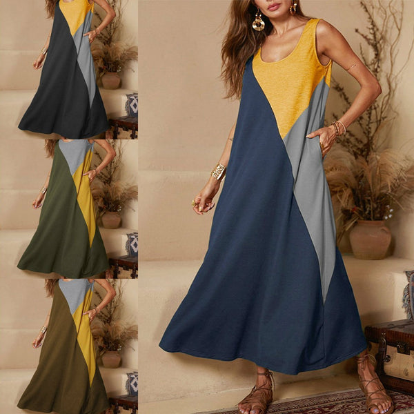 Casual Sleeveless Stitching Vest Dress