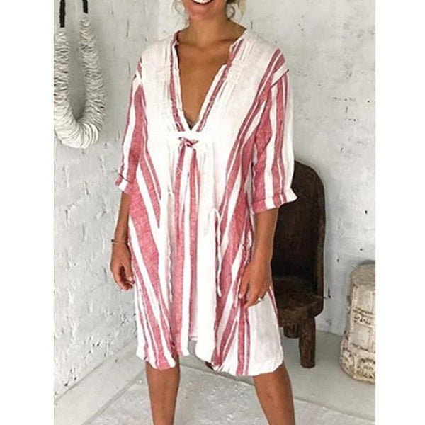 Women's Summer Casual Oversized Printed Stripe V-neck Dress