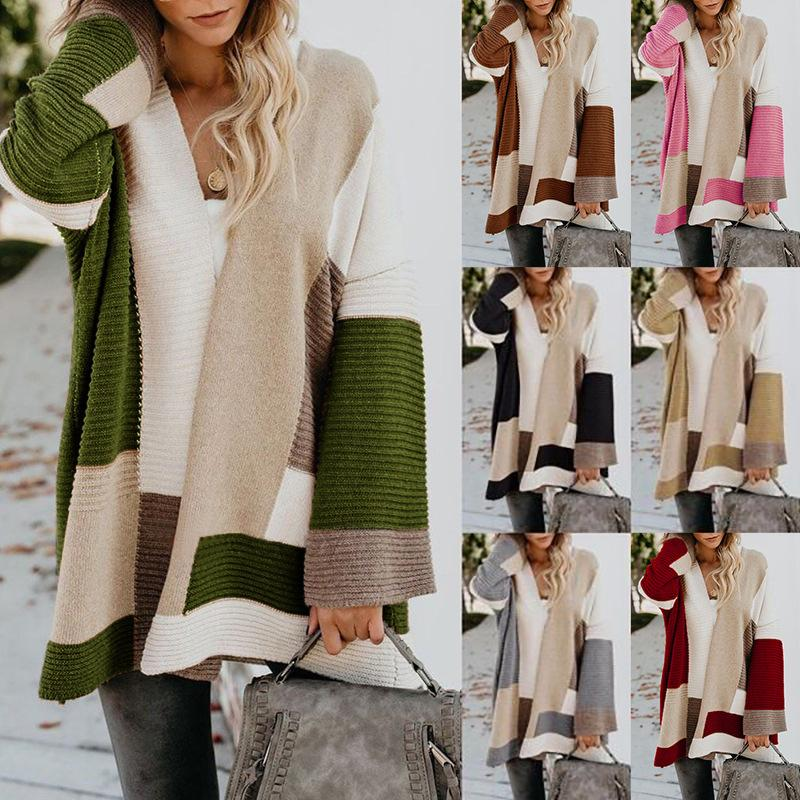 Women Plus Size Loose Color Block Cardigans