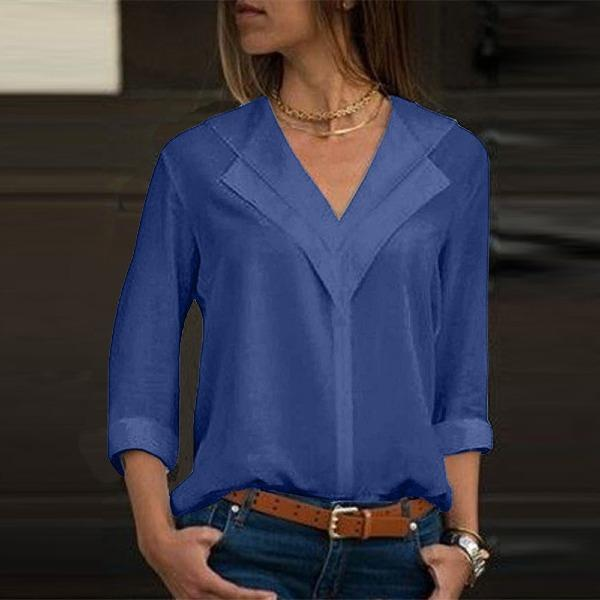 Women Leisure Double V-neck Solid Tops