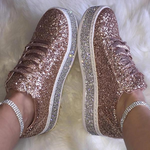 Fashion Rhinestone Lace-Up Flat Sneakers
