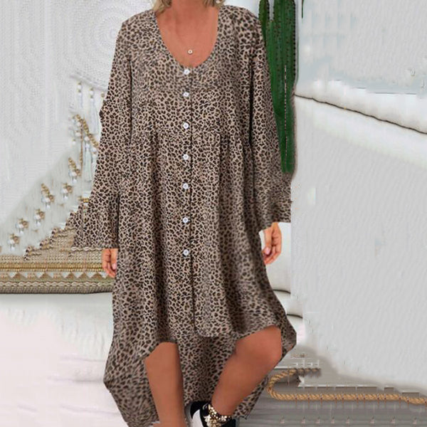Casual V Neck Printed Irregular Hem Dress