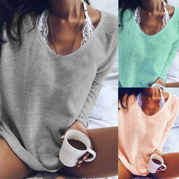 V Neck Plain Basic Sweaters