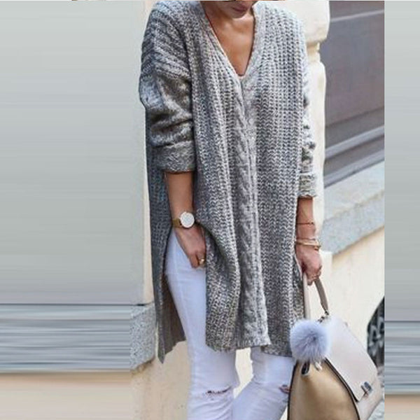 V-neck Solid Color Loose Sweaters