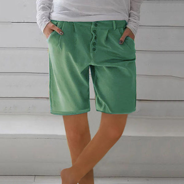 Daily Casual Solid Color Button Shorts