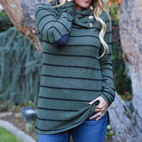 Ladies Asymmetric Buttoned Pile Neck Striped Sweatshirt