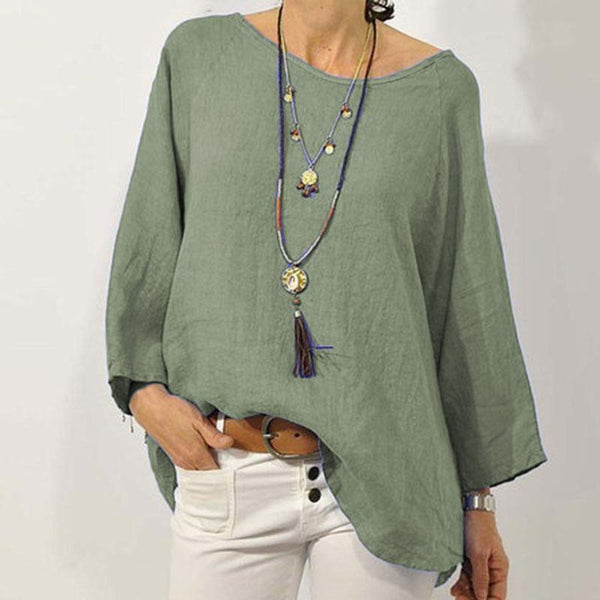 Plus Szie Solid Color Cotton Linen Round Neck Shirt