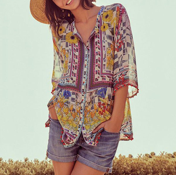 Bohemian V Neck Printed Loose Blouse