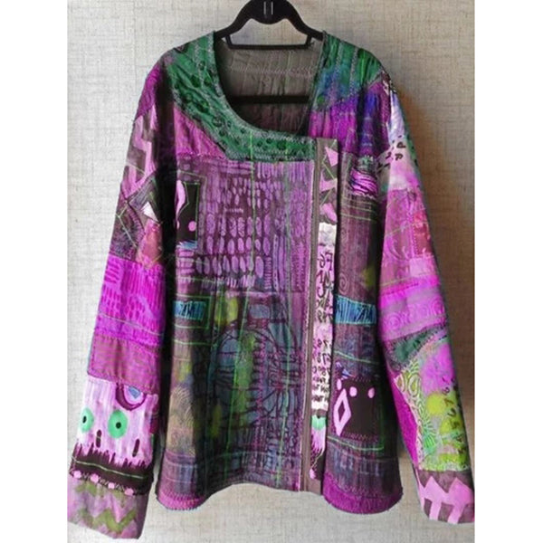 Women Plus Size U-Neck Abstract Blouses