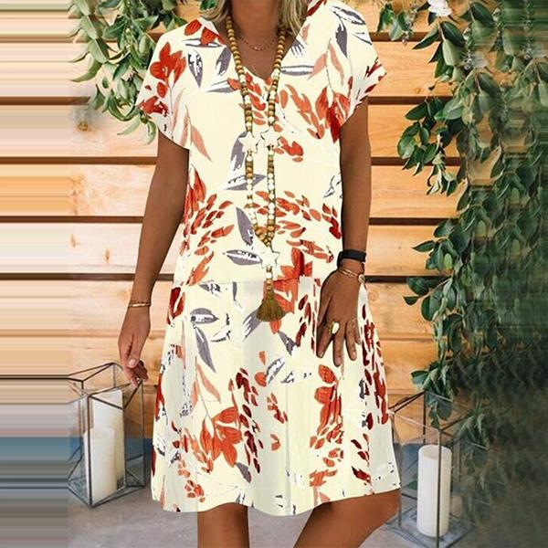 Women's Stitching Floral Printed V-neck Short Sleeve Dress