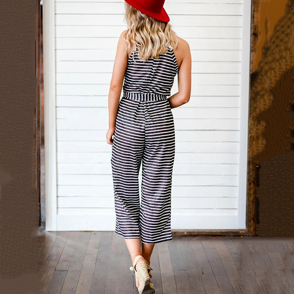 Ladies Striped Plus Size Jumpsuits