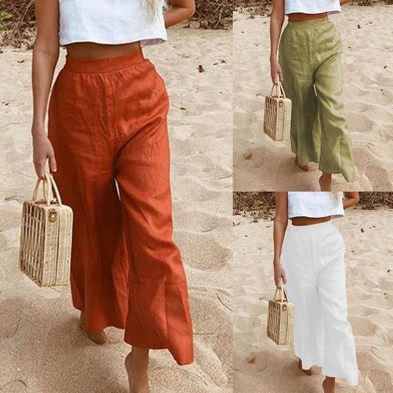 Women Solid Color Loose Pants