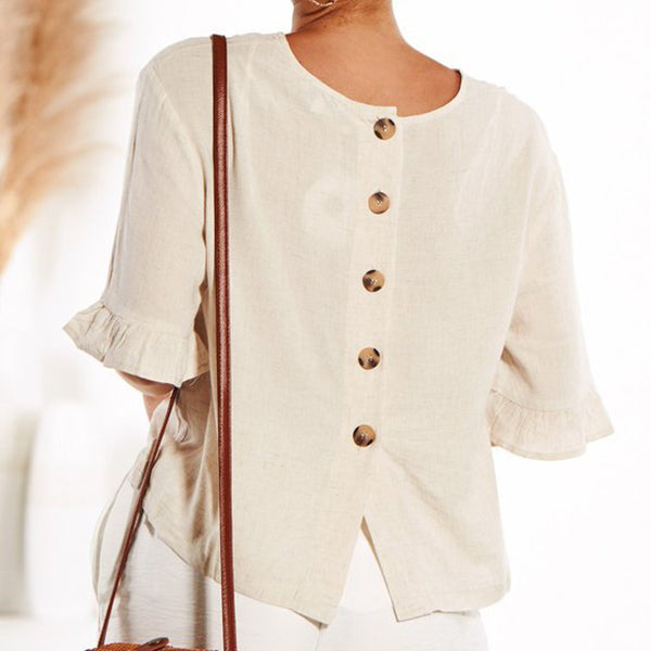 Ruffle Sleeve Loose Solid Color Blouse