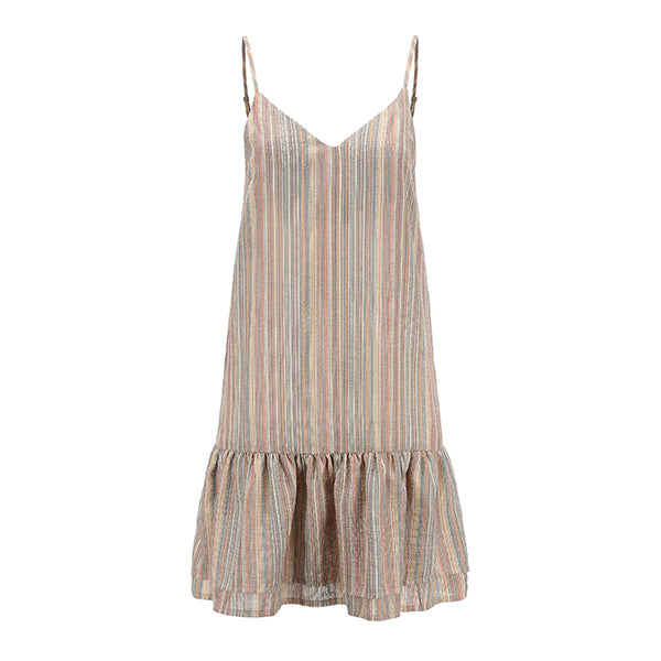 Sexy Stripe V Neck Backless Dress