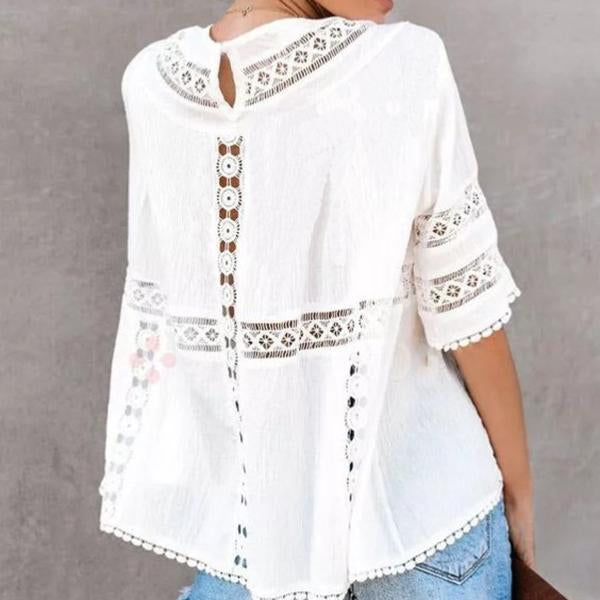 Summer White Embroidered Round Neck Blouse