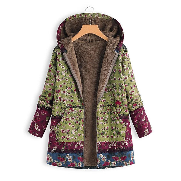 Women Patchwork  Hooded Casual Quilted Coats