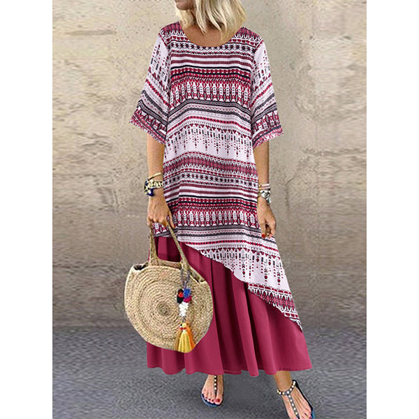 Casual Print Patchwork Double Layer Loose Dress