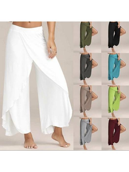 Casual Women Loose High Slit Flowy Layered Wide Leg Yoga Pants