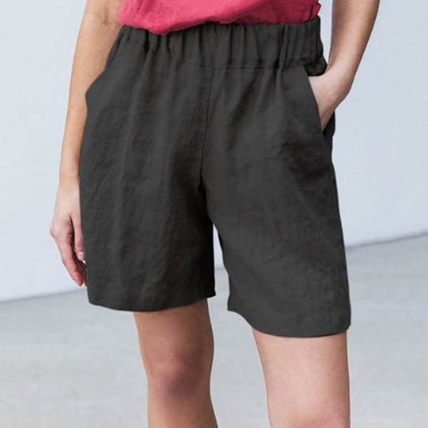 Plus Size Solid Color Casual Shorts