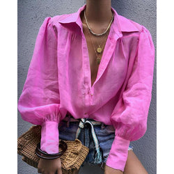 Fall Lantern Sleeve Loose Casual Shirt