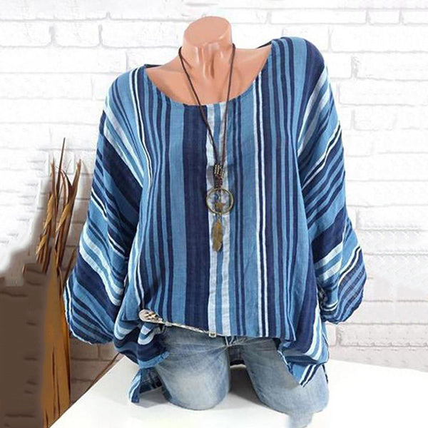Casual Stripe Bat Sleeve Blouse