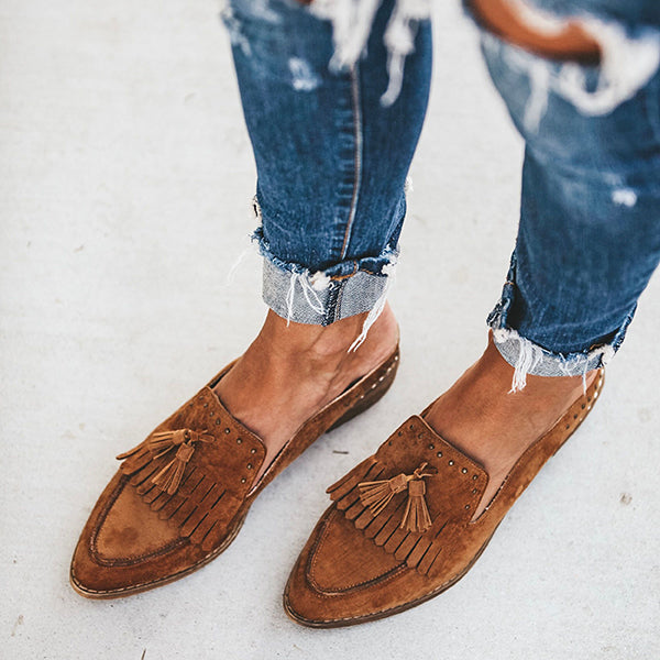Point Toe Tassel Loafer Slipper