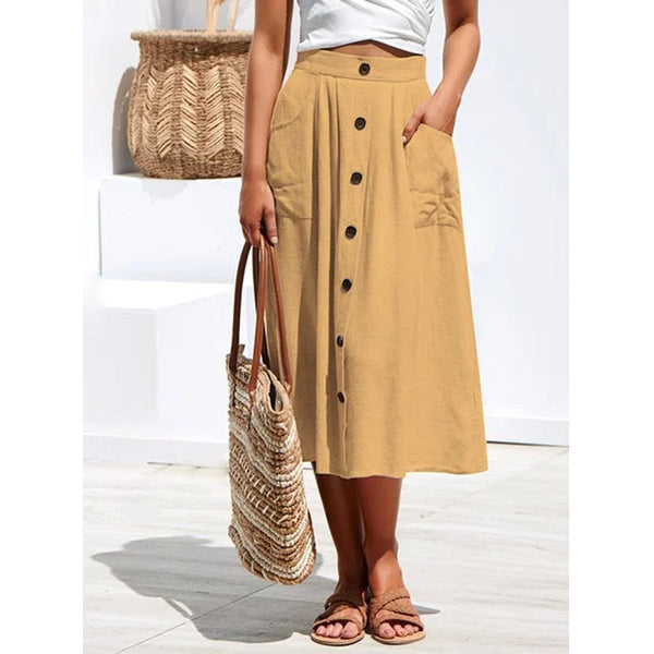 Buttoned A-line Summer Skirts With Pockets